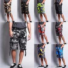 Men's Camo Camouflage Military Army Ripstop Belted Cargo Short Pants - O