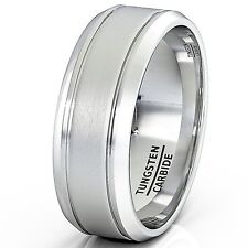 Tungsten Ring Matte Brushed Finish Grooved 8mm Men's Wedding Band Comfort-fit
