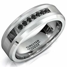 8mm Tungsten Carbide Ring with Brilliant Black CZ Mens Wedding Band