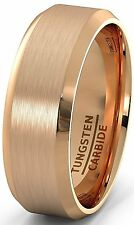 Rose Gold Tungsten Carbide Ring with Brushed Beveled Edges Mens Wedding Band 8mm