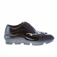PRADA women shoes Black polished leather sneaker-style oxford with Swarovski