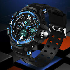 Fashion Mens Silicone Analog Digital LED Alarm Sport Business Wrist Watch Gift