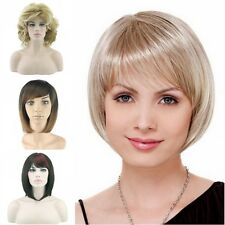 Girls Women's Full Bangs Wigs Short Wig Straight Wavy Bob Hair Cosplay Party 58d