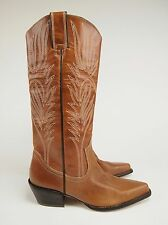New STEVE MADDEN Lonestar 14'' Leather Boho Western Pull-on Boots 6.5 B