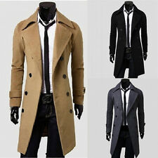 Fashion Men's Stylish Trench Coat Winter Long Jacket Double Breasted Overcoats