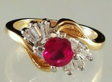 Birthstone Cocktail Ring Yellow Gold Plated Ruby Imitation Red C Z Size  4 5 6 8