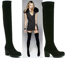 Womens Ladies Thigh High Over The Knee Mid High Heel Platform Stretchy Boots 3-8