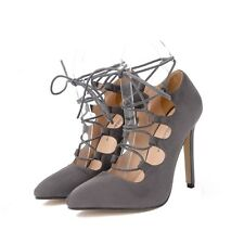 Suede Pointed Toe Strappy Ladies Stilettos Pumps Party Women's High Heels Shoes