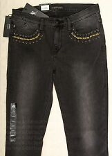 NWT ROCK & REPUBLIC Skinny Jeans QUEENDOM Dark Gray Faded Black Gold Chains 16 8