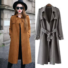 Womens Brown/Grey Suede Jacket Trench Parka Military Knee Length Coat UK 6 8 10