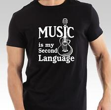music is my second language funny t-shirt guitar musician musical mens womens