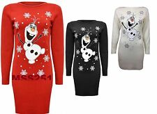 WOMENS LADIES NEW OLAF FROZEN CHRISTMAS TUNIC XMAS DRESS LONG KNITTED JUMPER TOP