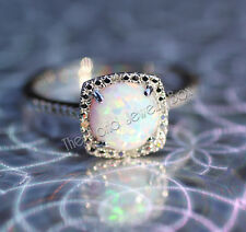 925 Sterling Silver Created Opal & Halo Diamond Engagement Birthstone Ring 5678