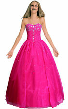 Rose Red Woman's FormaL Prom Evening Dress Gown Ball Robe Bridemaids sizE 8-14