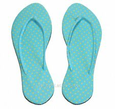 Cyan Yellow POLKA DOT Women Sandals Flip Flops Slippers Thongs
