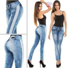 Women Colombian Jeans Fajate Virtual Sensuality Push Up Butt Blue NEW 2016 SALE