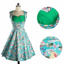 Women Vintage Floral Printed Rock Check Swing Pinup Retro Cocktail Party Dress