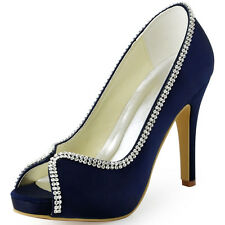 EP11083-IP Satin High Heel Platform Pumps Peep Toe Prom Evening Party Shoes