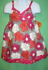 Penelope Mack Dress Girls Mod Floral Lined NWT Grey Gray Pink White Coral 24M