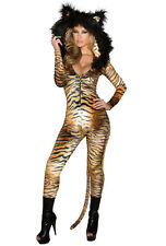 J Valentine hooded tiger print catsuit adult costume