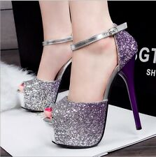 Size 4-8 Bling Glitter Open Toe High Heels Stilettos Platform Pumps Party Shoes