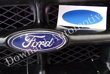 Blue Carbon Fiber Wrap Vinyl Decal -Oval Cut to Cover(Overlay)Ford Emblem