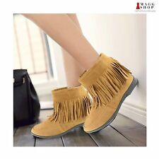 Women's Black Yellow Brown Faux Suede Mocassin Style Fabric Ankle Fringe Boots