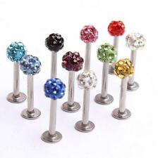 1 16G CZ Gem Steel Labret Monroe Lip Ring Studs Internal Thread Body Piercing