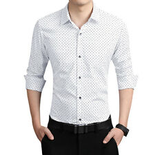 Men Point Collar Button Down Long Sleeves Novelty Print Casual Shirt