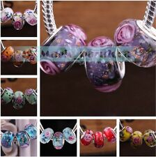 5/10/20ps Round Big Hole Lampwork Glass Beads Fit European Murano Charm Bracelet