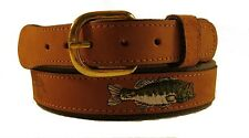 Zep-Pro Embroidered Leather Canvas Belt > LARGE MOUTH BASS < NWT pick your size