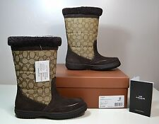 NWT WOMEN COACH SHERMAN SIG SUEDE CHESTNUT WINTER SNOW BOOTS SHOES SZ 6-9 A00771