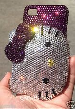 hello kitty Compact mirror fits iPhone crystal case bling diamond cover Purple