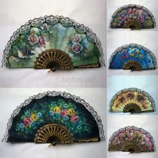 Vintage Luxury Fabric Hand Held Fans Summer Floral Folding Fans Gift Party Decor