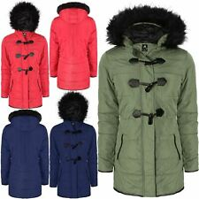 WOMENS LADIES TOGGLE PADDED PARKA COAT DUFFLE ZIP UP FUR HOODED QUILTED JACKET