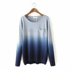 Womens Fashion Knitted Long Sleeve Gradient Pocket Knit Sweater Pullover Outwear
