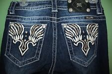 Miss Me Signature Boot Cut Denim Jeans Wing Design Crystals JW7564B Size 27 x 33