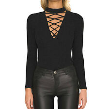 Women Mock Neck Lace Up Front Long Sleeves Ribbed Tunic Top