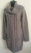 M&Co Plus Size Grey Cable Knit Polo Neck Jumper With Double Pocket Size 4-22