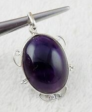 Natural Purple Amethyst Oval Shape 20x27mm Gemstone 925 Sterling Silver Pendant