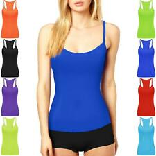 WOMENS LADIES VEST TOP PARTY LYCRA NEON STRETCH RACER BACK DANCE TUTU DRESS ARMY