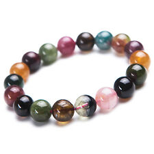 Natural Colorful Tourmaline Crystal Clear Beads Healing Bracelet 11mm AAAA