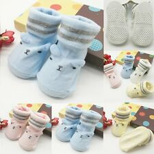 Newborn Baby Girl Boy Anti-slip Socks Cartoon Slipper Shoes Boots 0-6 Months New