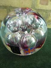 Langham Glass Paperweight clear with pink spots and big bubble