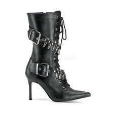 Womens Halloween Sexy Black Militant Heeled Boots