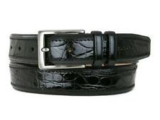Mezlan Men's Genuine Crocodile Body Calf BLACK Belt AO8597-C Made In Spain