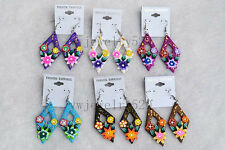 FREE Wholesale 12Pairs Flower FIMO Rhinestone polymer clay Silver Plated earring