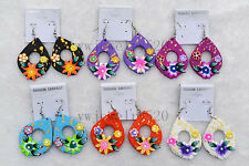 Wholesale 12Pair drop Flower FIMO Rhinestone polymer clay Silver P earrings FREE