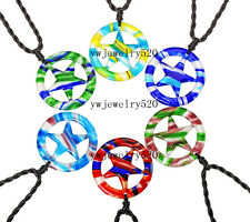 Wholesale Lots 6Pcs round star Murano Glass Pendants Braided rope Necklaces FREE