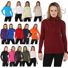 Womens Long Sleeve Ribbed Roll Polo High Neck Stretch Cardigan Cotton Shirt Top